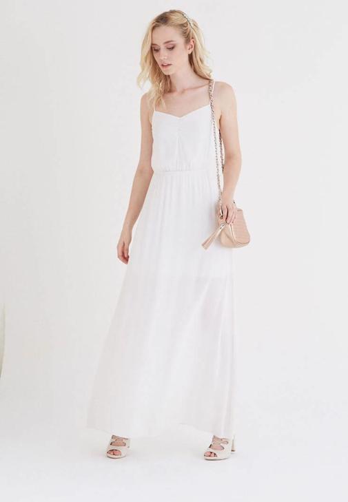 Beyaz Askılı Uzun Elbise