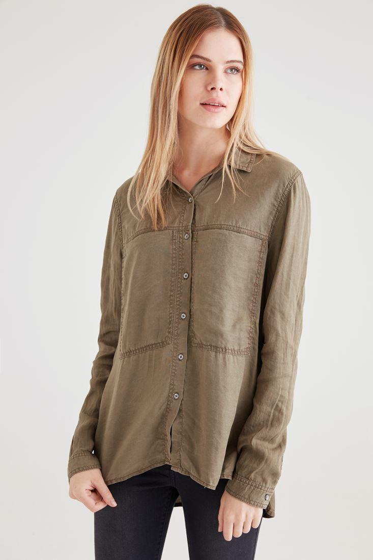 Yeşil Uzun Cepli Gömlek