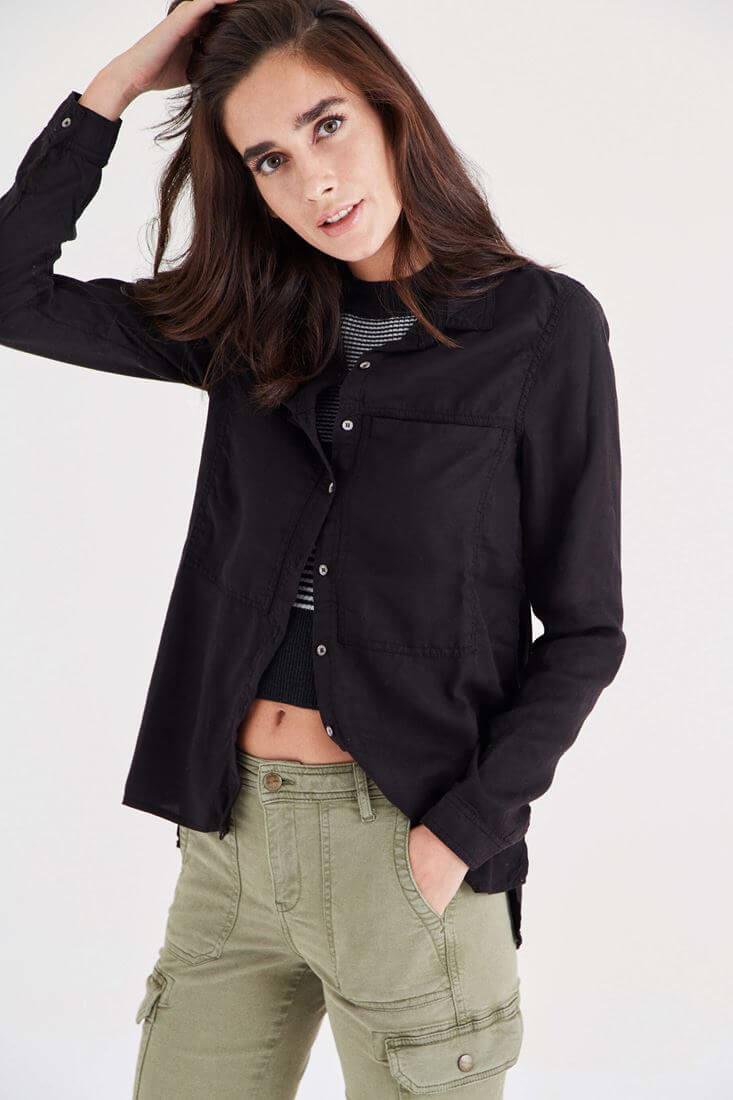Siyah Uzun Cepli Gömlek