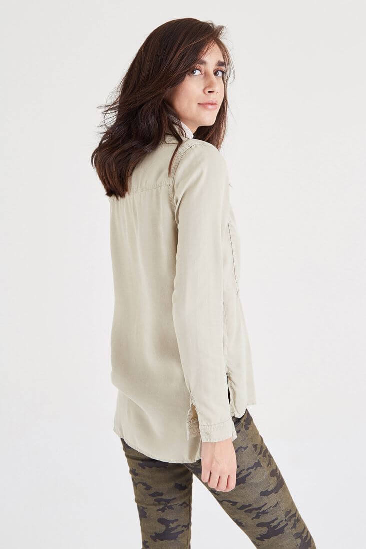 Bayan Krem Uzun Cepli Gömlek