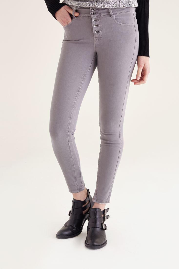 Gri Önden Beş Düğmeli Yüksek Bel Pantolon