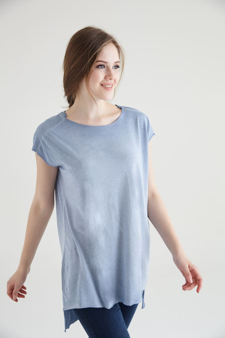 Bordo Geniş Yaka Tişört Tunik