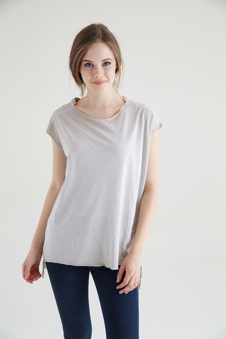 Krem Geniş Yaka Tişört Tunik
