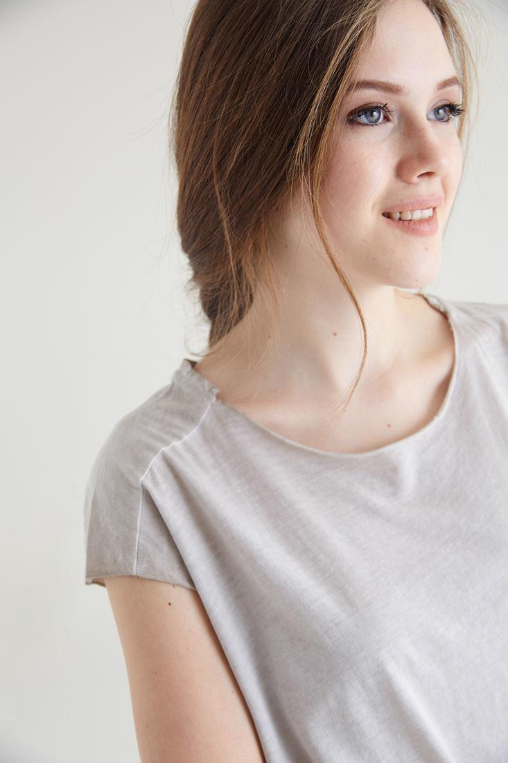 Bayan Krem Geniş Yaka Tişört Tunik