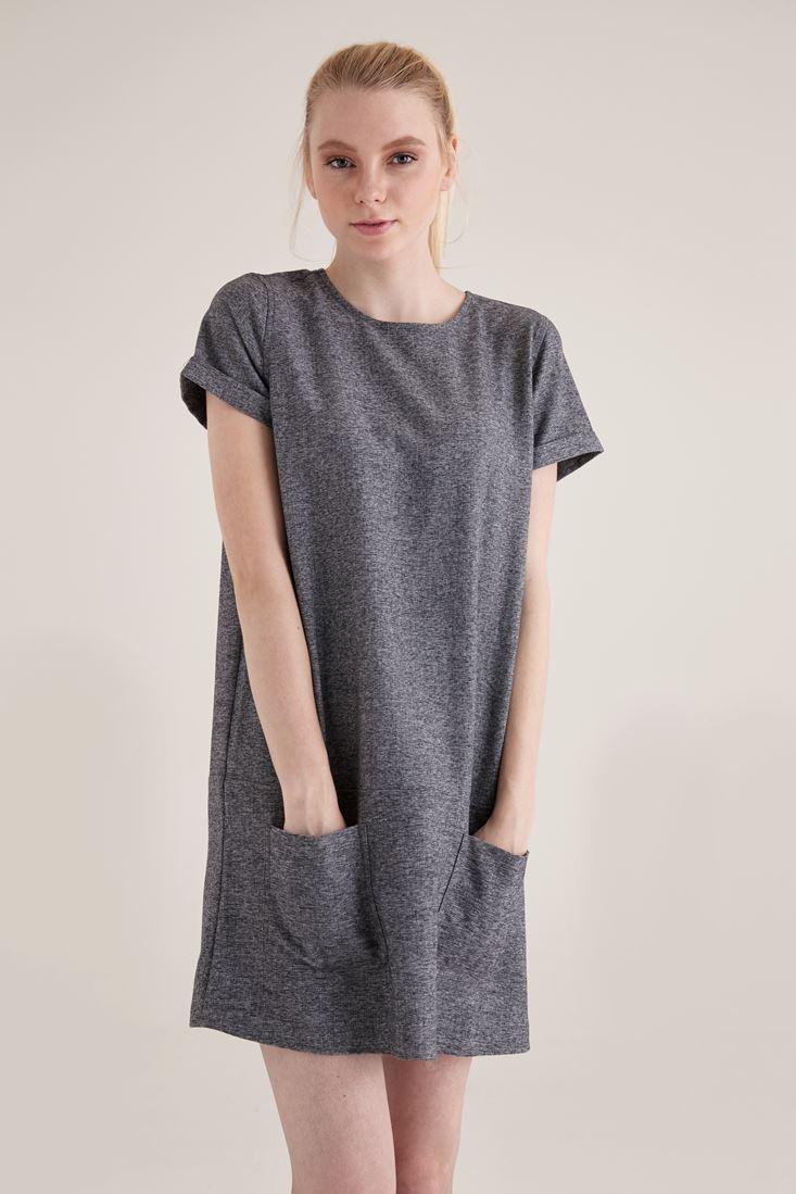 Gri Kısa Kollu Cep Detaylı Mini Elbise