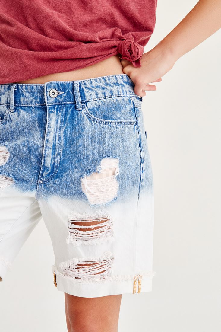 Navy Distressed Boyfriend Short