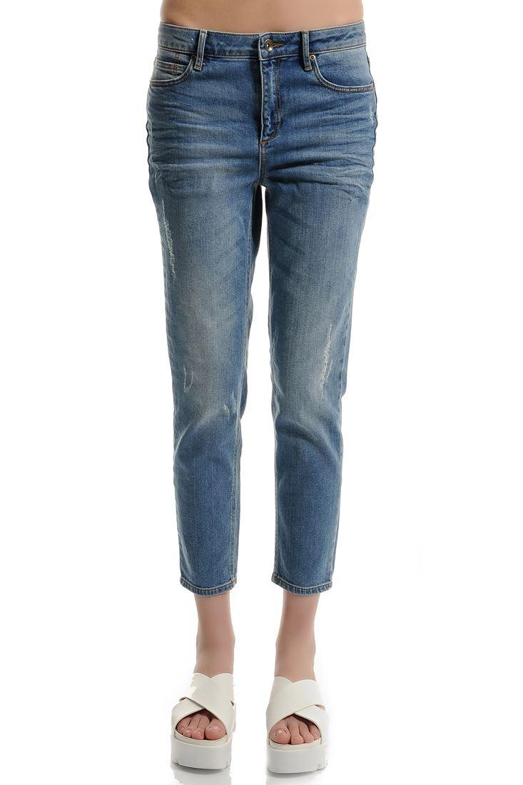Mavi Düşük Bel Kısa Paça Pantolon