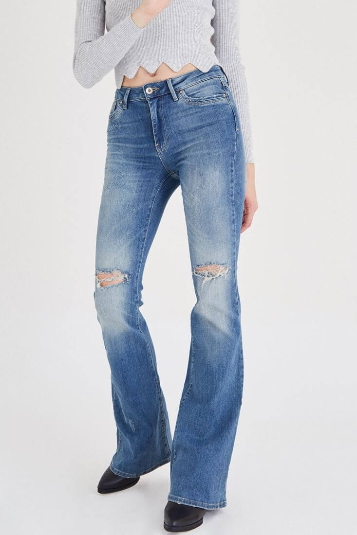 Blue Distressed Flare Jean