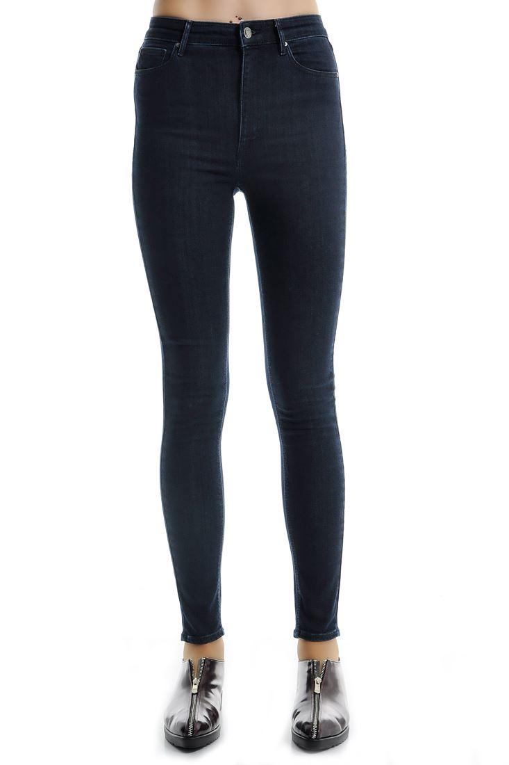 Bayan Mavi Yüksek Bel Cepli Denim Pantolon