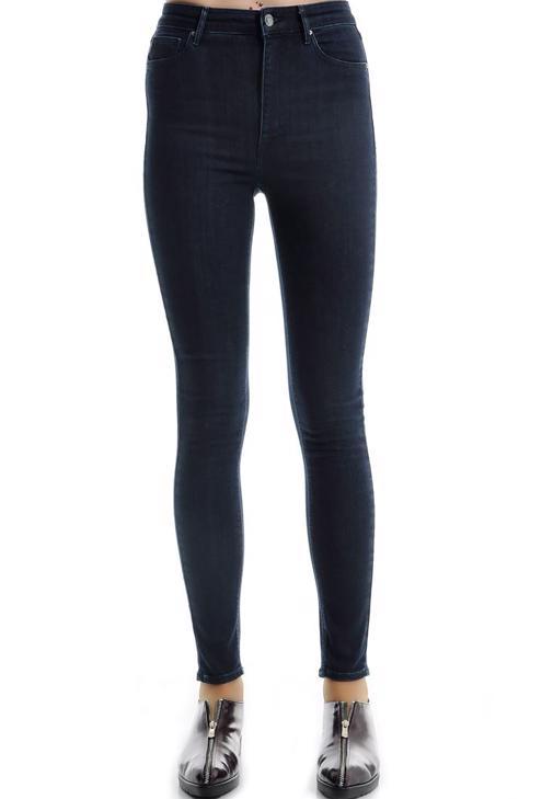Mavi Yüksek Bel Cepli Denim Pantolon