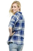 Bayan Lacivert Ekose Desenli Uzun Gömlek