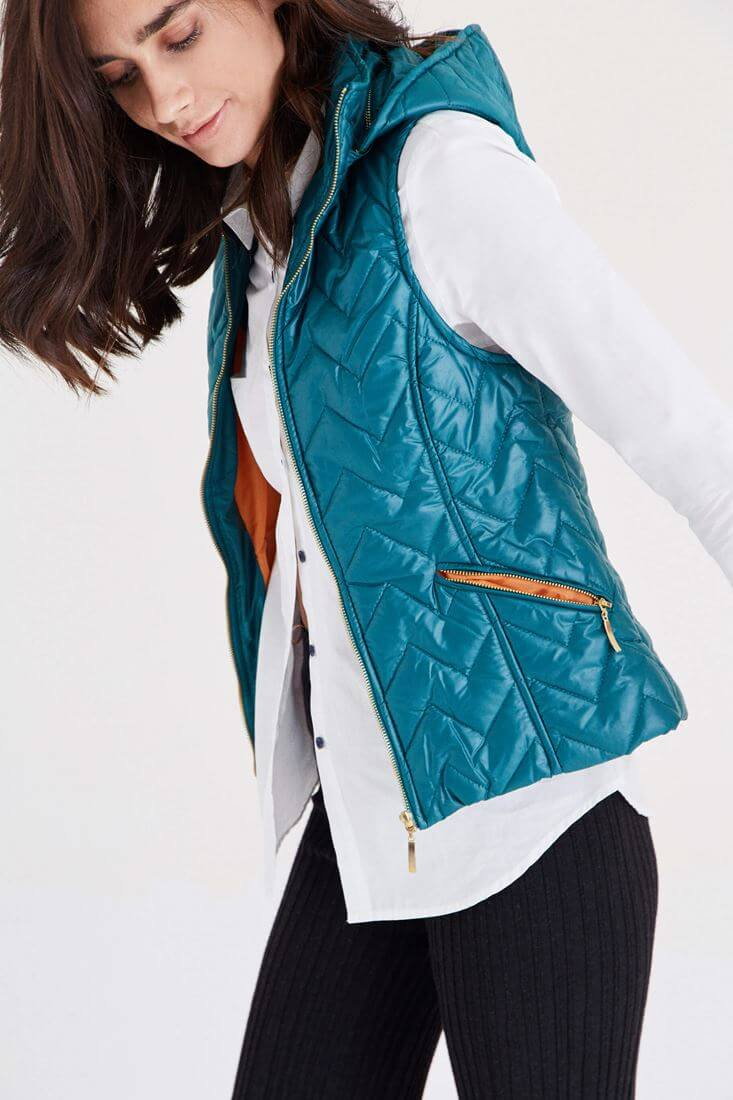 Blue Quilted Vest With Hooded Detail