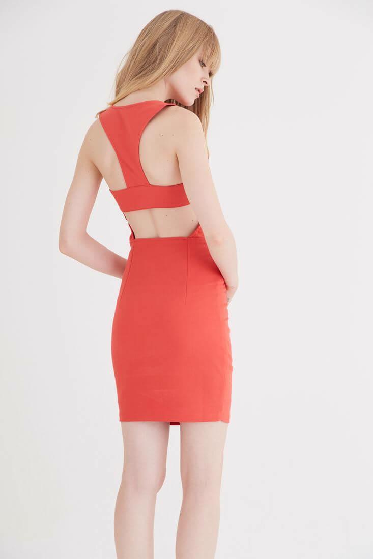 Bayan Kırmızı Sırt Dekolteli Mini Elbise