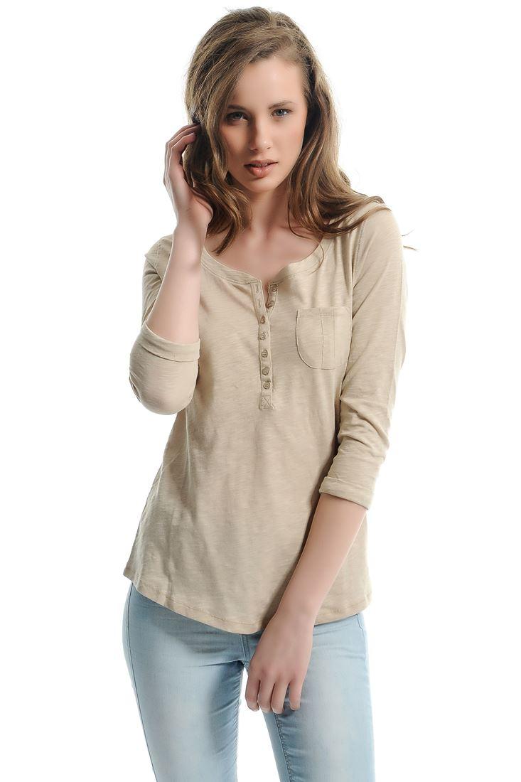 Bayan Krem Uzun Kollu Düğmeli Tişört