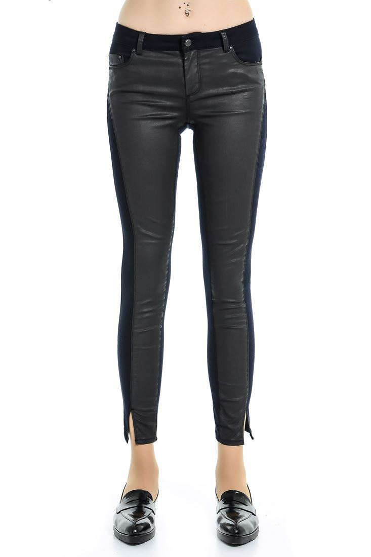 Blue Leather Look Trouser
