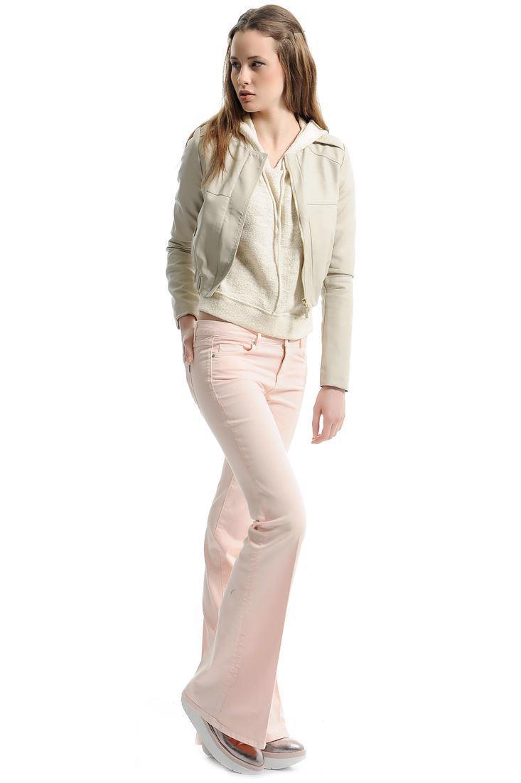 Bayan Pembe Düşük Bel İspanyol Paça Pantolon