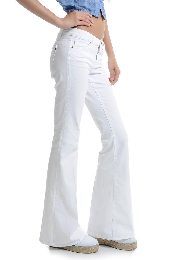 Beyaz Düşük Bel İspanyol Paça Pantolon