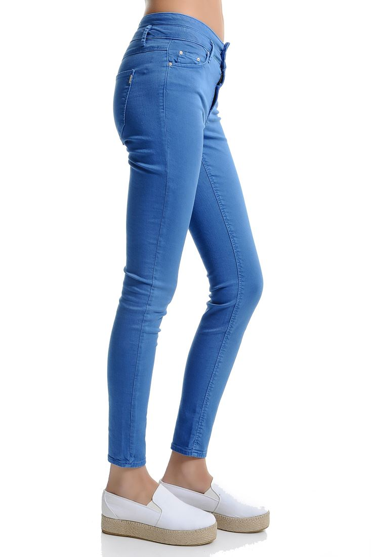 Bayan Mavi Adela Yüksek Bel Skinny Pantolon