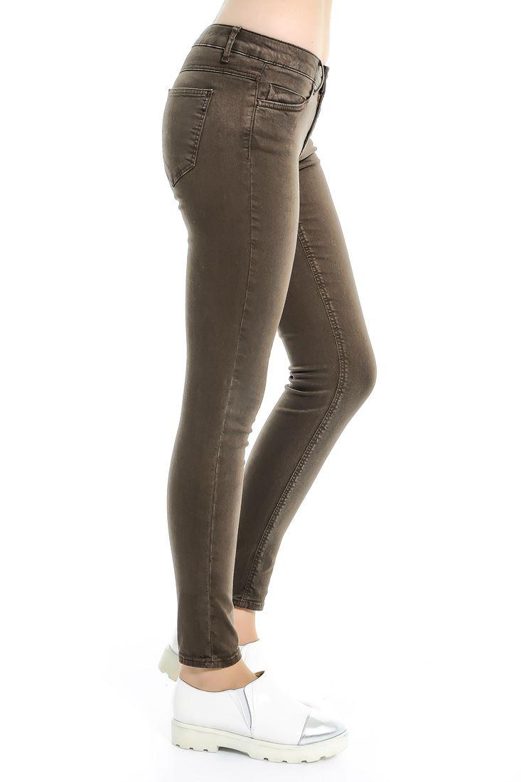 Bayan Kahverengi Adela Düşük Bel Skınny Pantolon