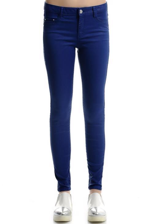 Lacivert Deri Görünümlü Skınny Pantolon