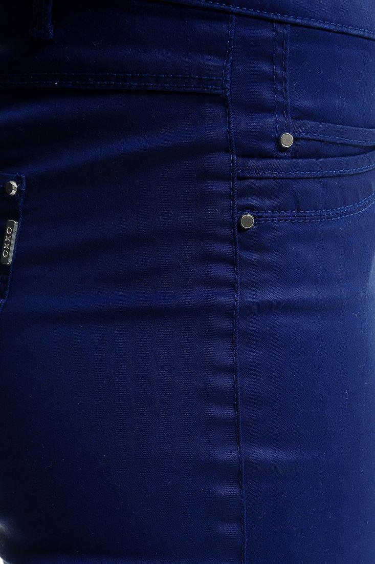 Bayan Lacivert Deri Görünümlü Skınny Pantolon