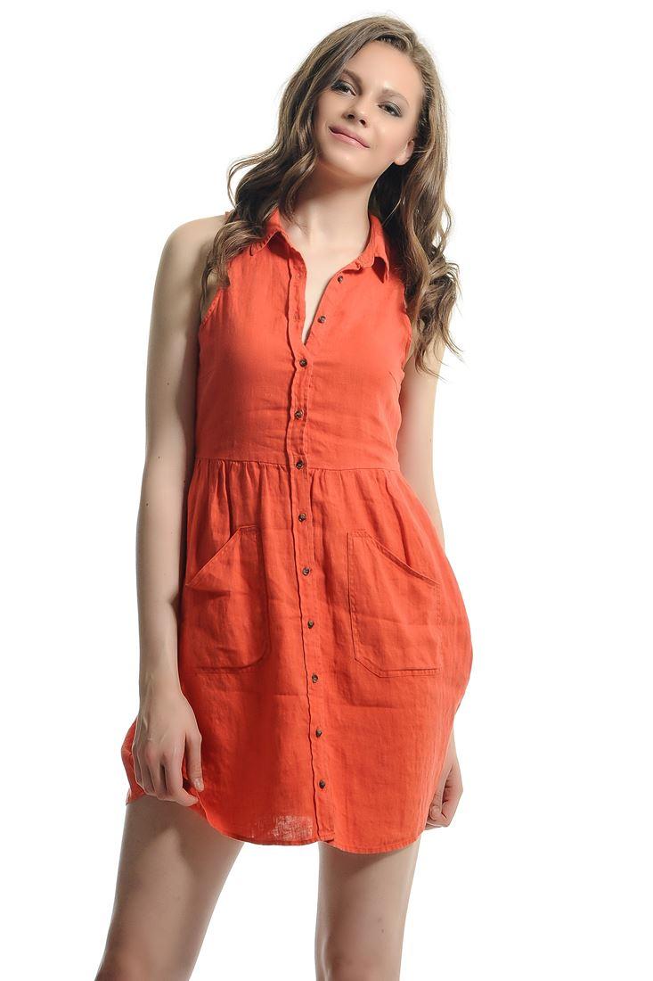 Turuncu Önü Düğmeli Mini Elbise