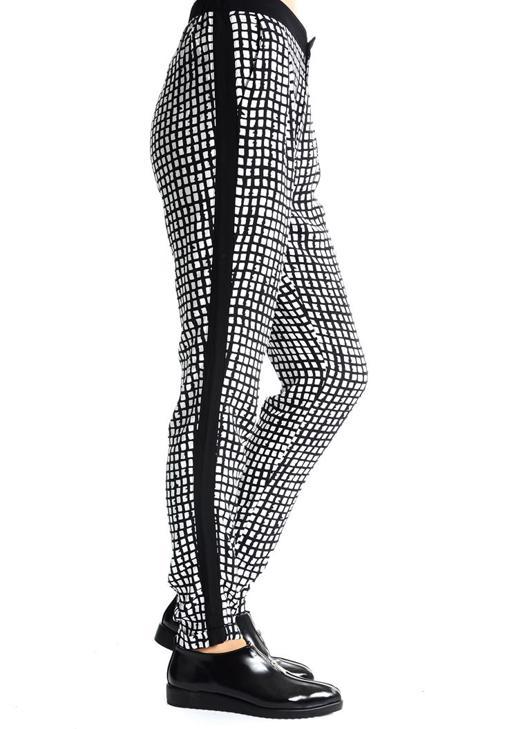 Siyah Grafik Desenli Bol Pantolon