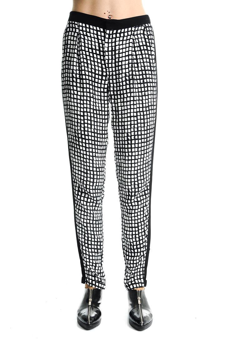 Bayan Siyah Grafik Desenli Bol Pantolon