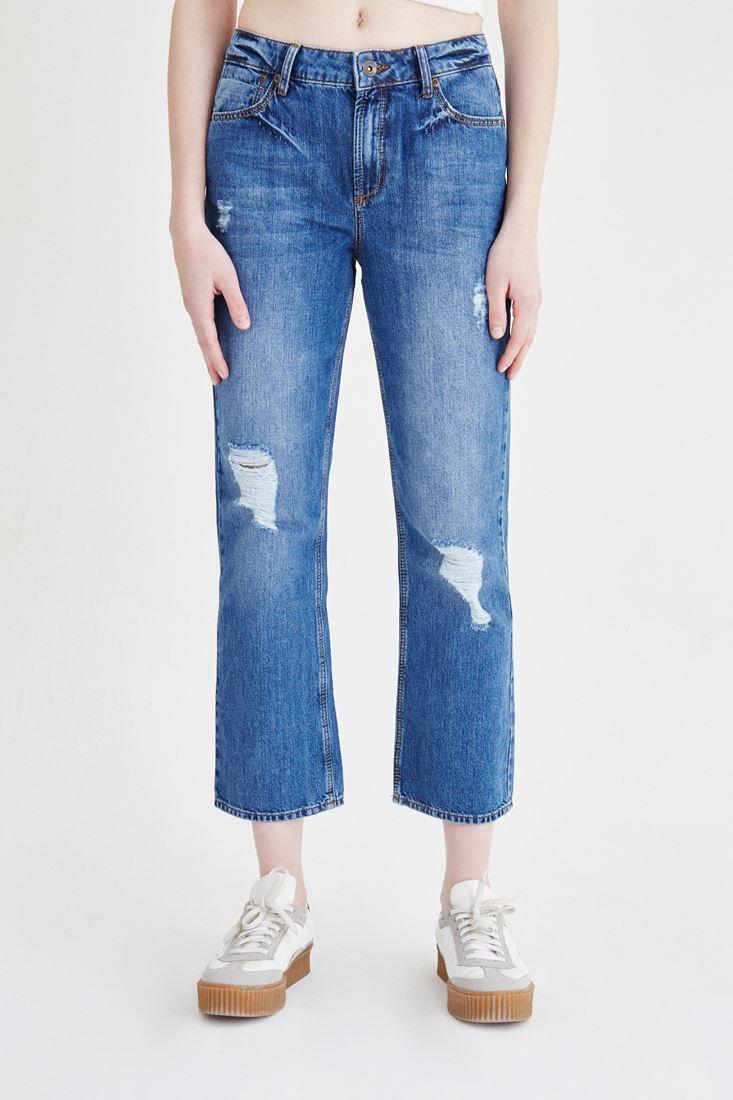 Mavi Yırtıklı Düşük Belli Jean Pantolon