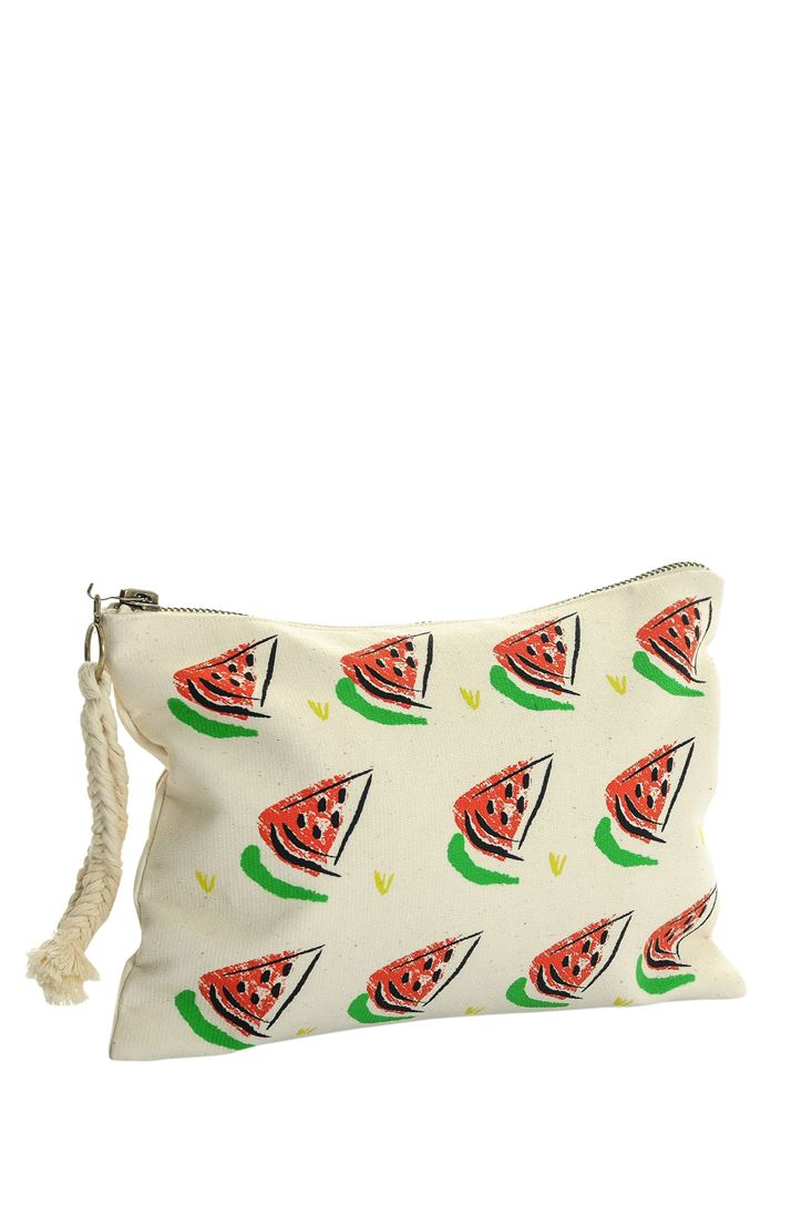 Cream Watermelon Printed Clutch Bag