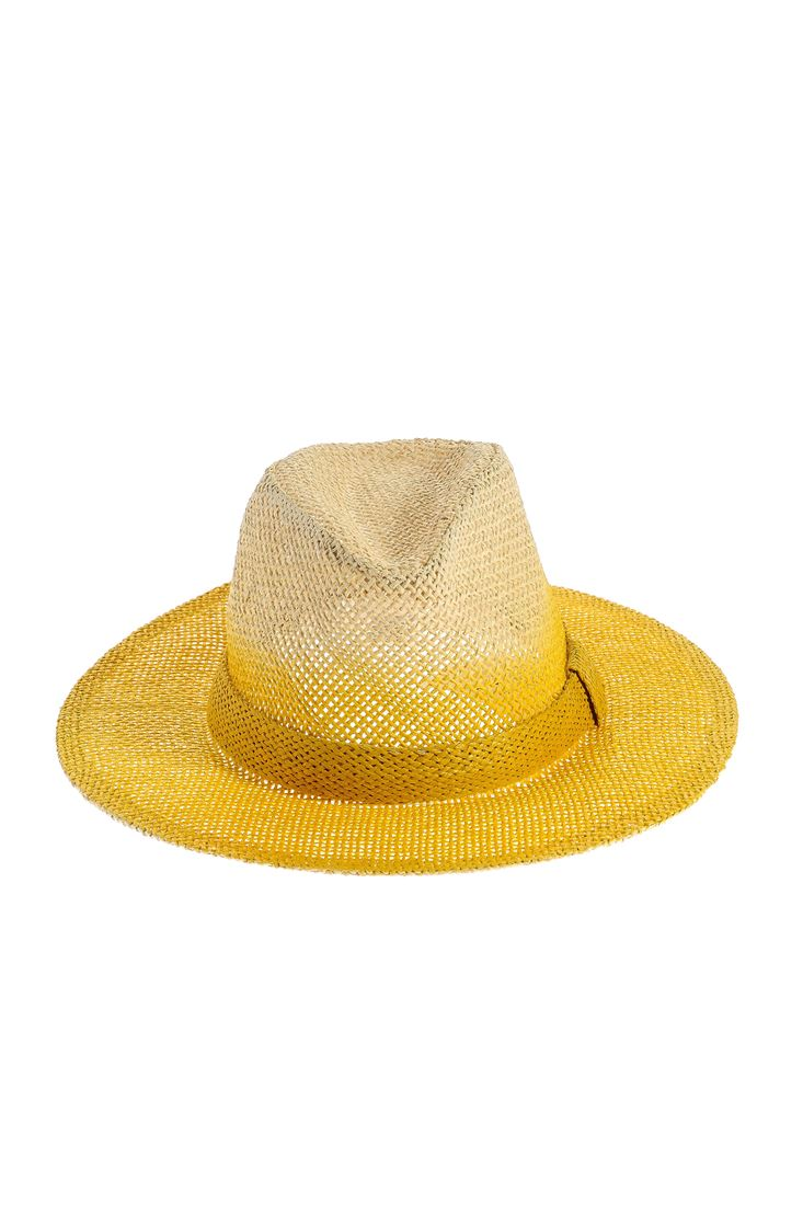 Sarı Degrade Geçişli Hasır Şapka