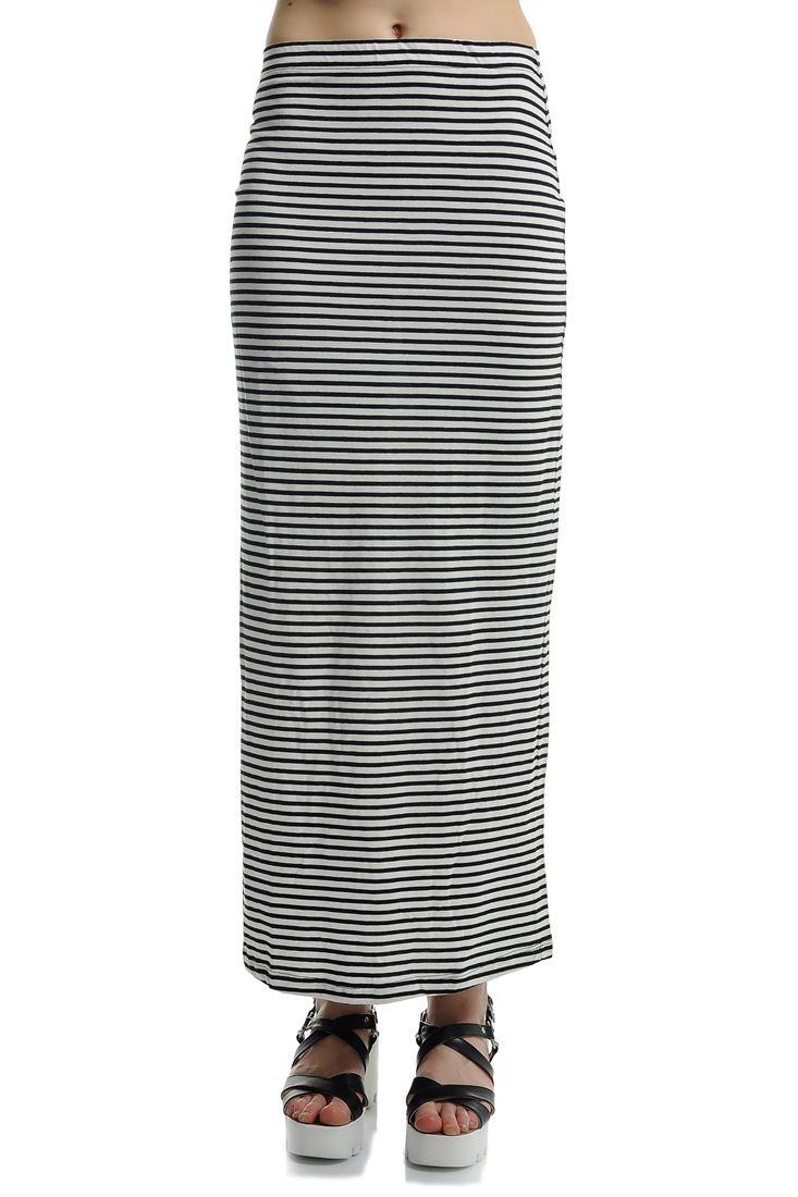 Çok Renkli Çizgili Yırtmaç Detaylı Uzun Etek