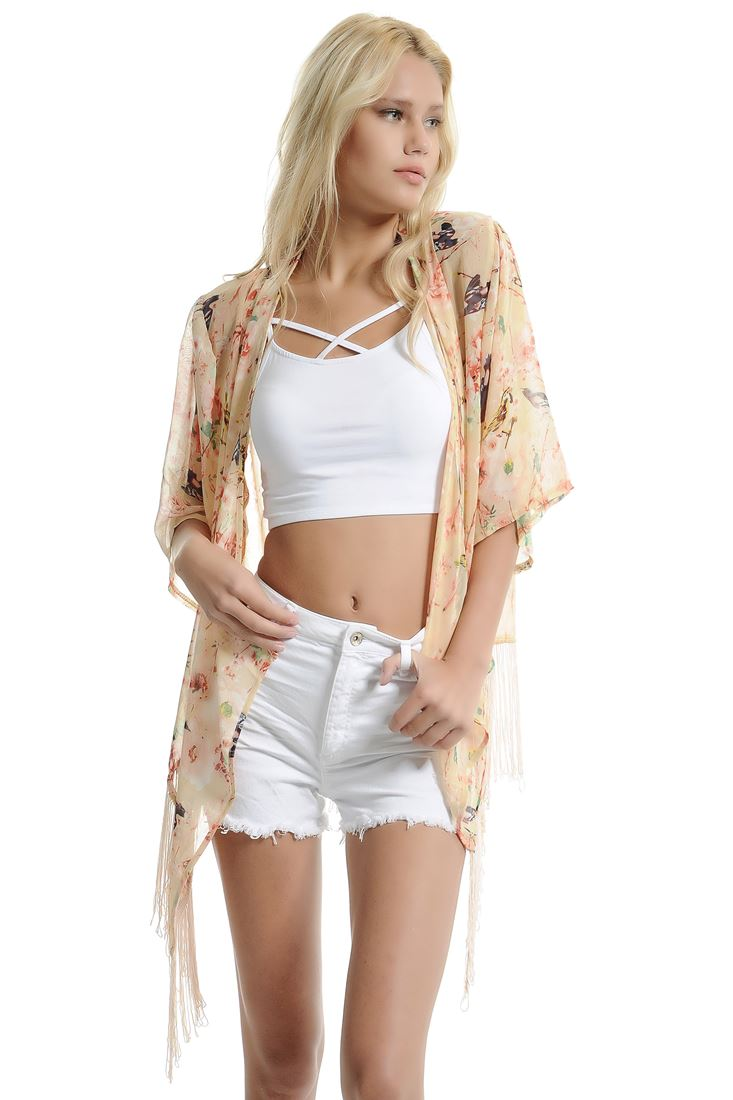 Pink Floral Printed Kimono With Fringing Detail