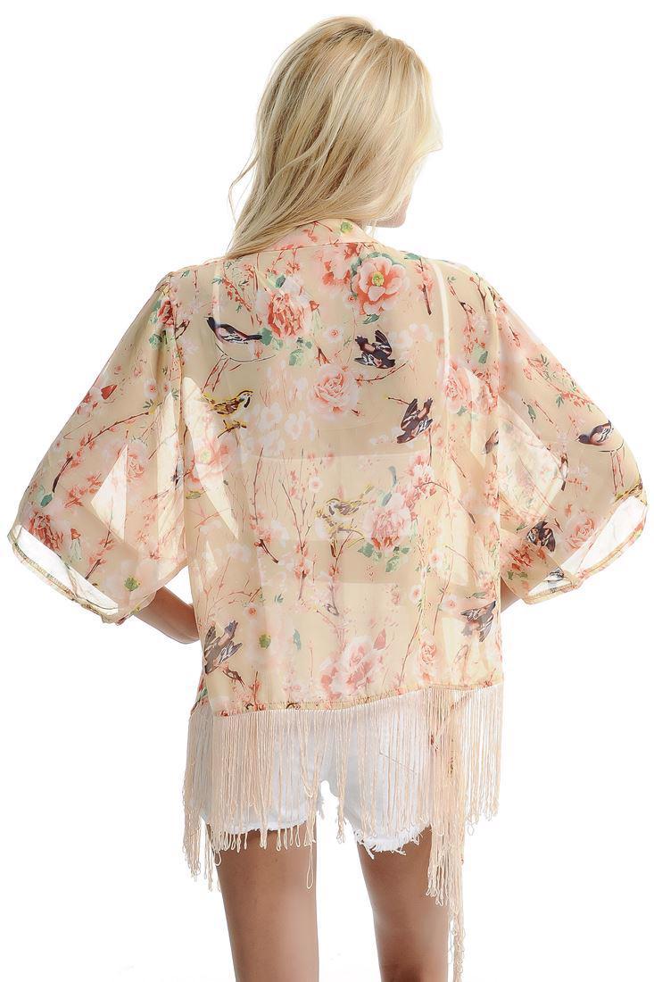 Bayan Pembe Püsküllü Çiçek Desenli Kimono