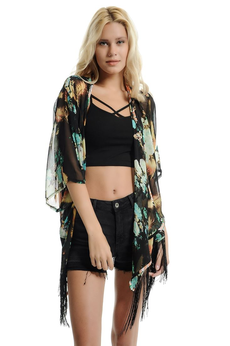 Black Floral Printed Kimono With Fringing Detail