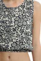 Bayan Çok Renkli Desenli Lastikli Kısa Bluz