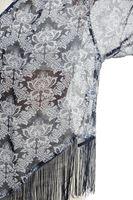 Bayan Lacivert Desenli Püsküllü Kimono