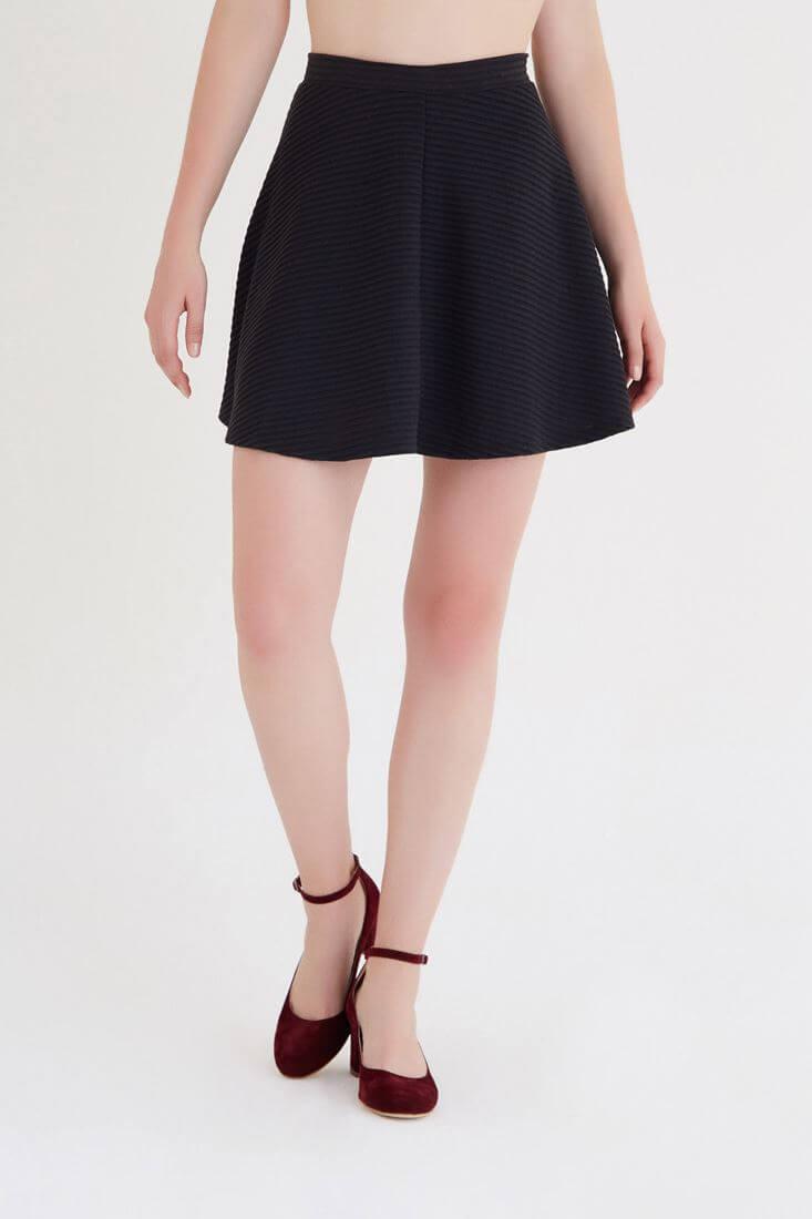 Bayan Siyah Volanlı Mini Etek