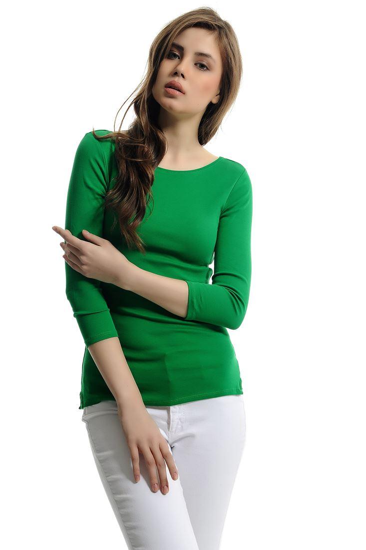 Yeşil Uzun Kollu Kayık Yaka Tişört