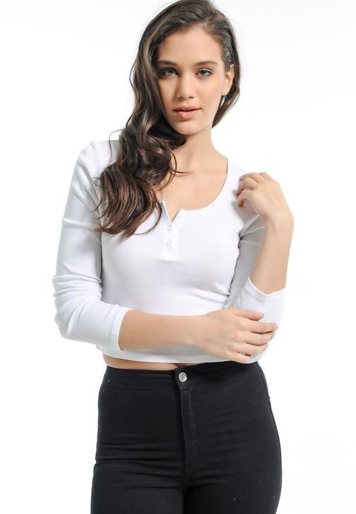 Beyaz Göbeği Açık Tişört