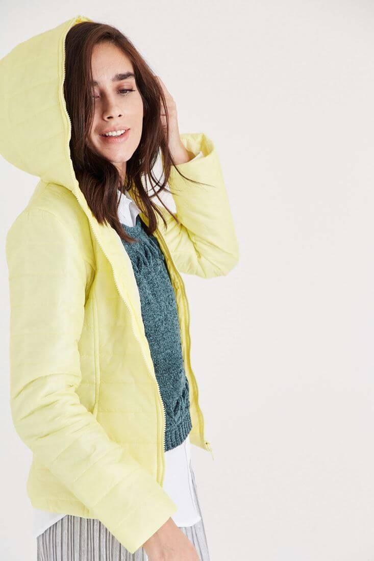Bayan Sarı İki Renkli İnce Mont
