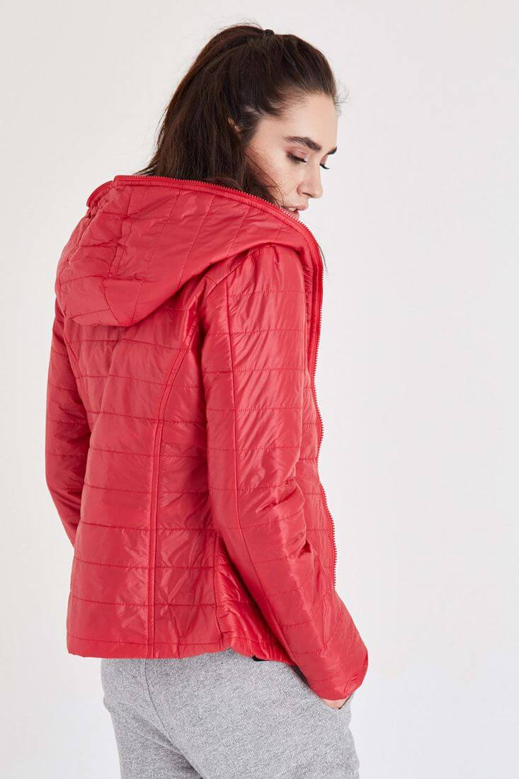 Bayan Kırmızı İki Renkli İnce Mont