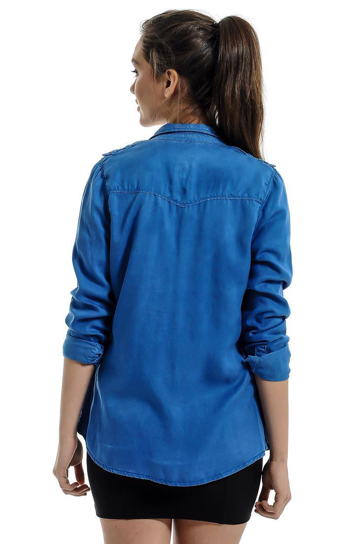 Bayan Mavi Uzun Kollu, Cepli Gömlek
