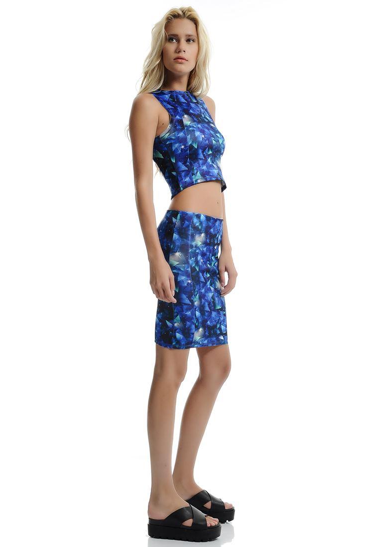 Mixed Scuba Bodycon Skirt
