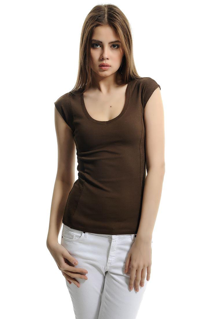 Kahverengi Pamuk V Yaka Basic Tişört