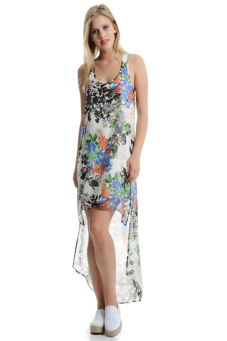 Çok Renkli Arkası Uzun Şifon Elbise