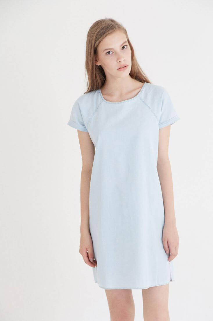 Mavi Kısa Kollu Denim Elbise