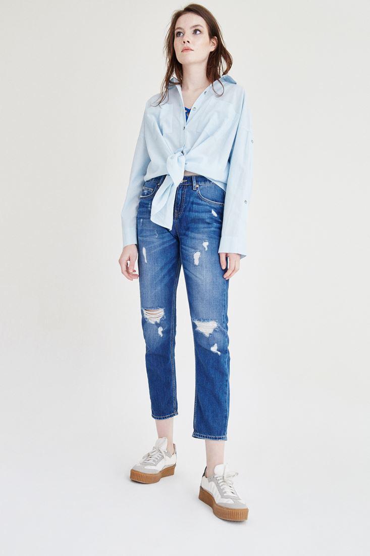 Mavi Yırtık Detaylı Boyfrıend Denım Pantolon