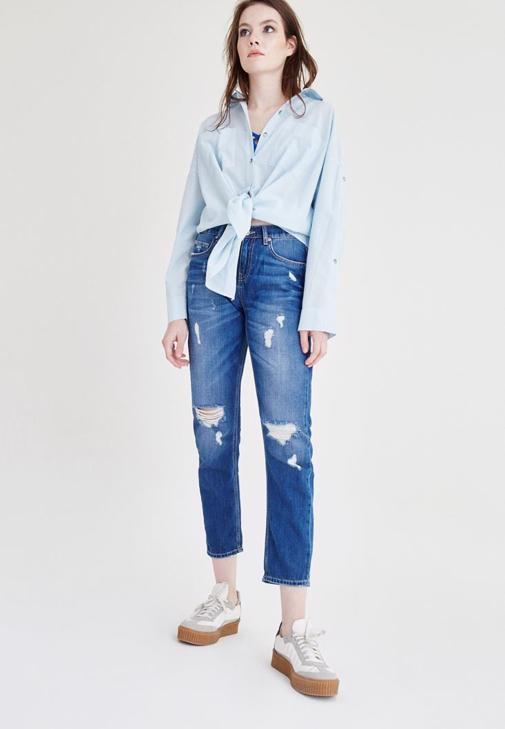 Yırtık Detaylı Boyfrıend Denım Pantolon 15YOX-TRACY