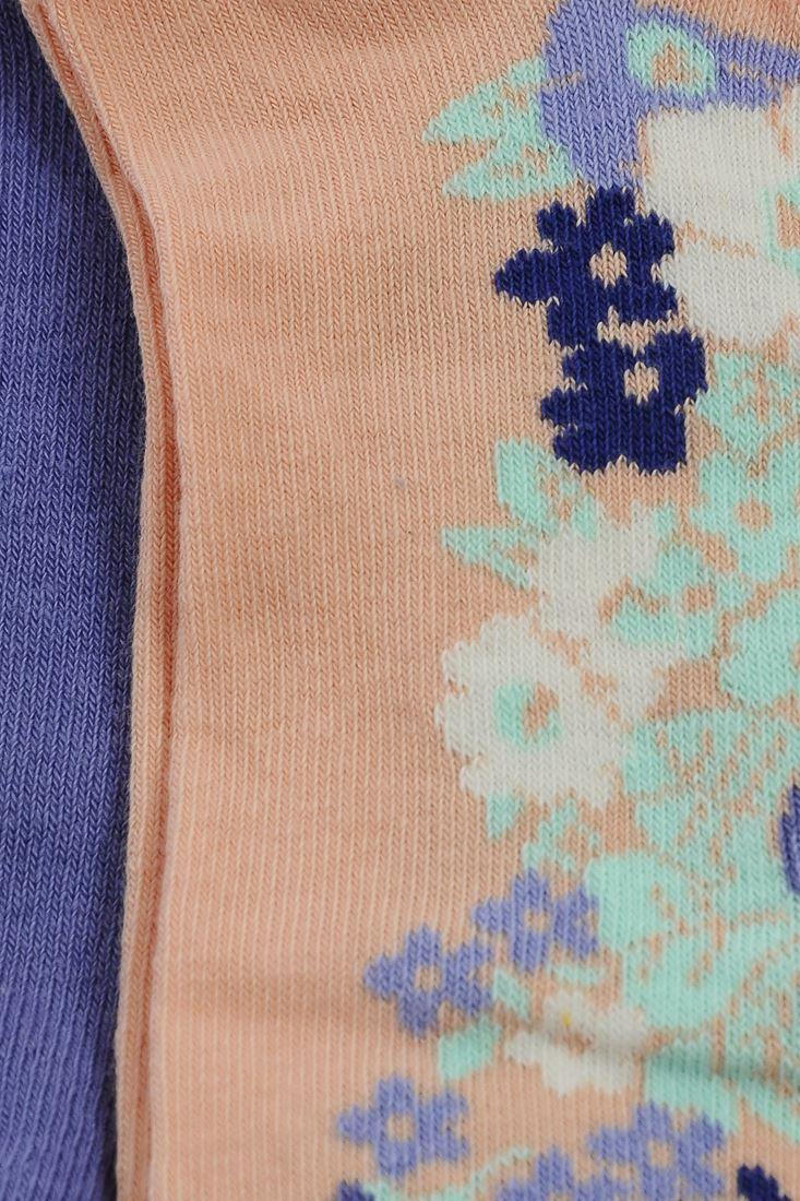 Bayan Çok Renkli Küçük Çiçek Baskılı Çorap